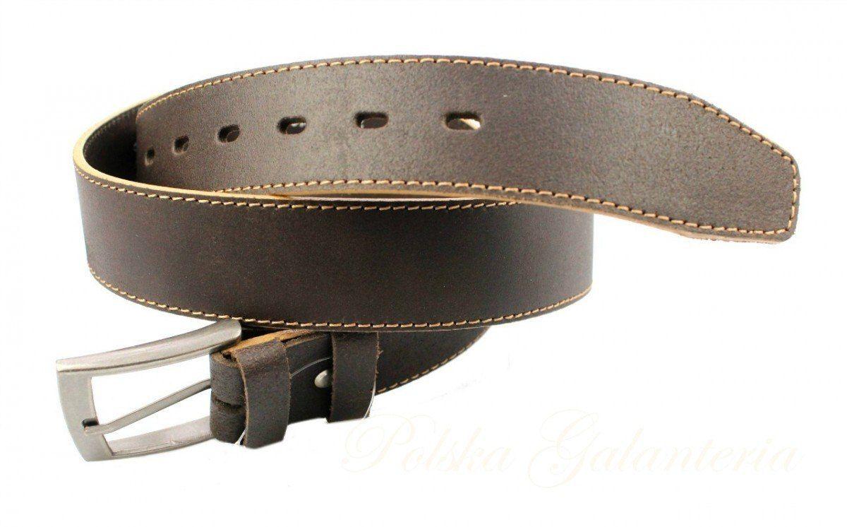 Pasek Skórzany Męski COMEX GRINGO Brązowy Z Beżową Nitką Skóra Licowa Matowa 40 mm