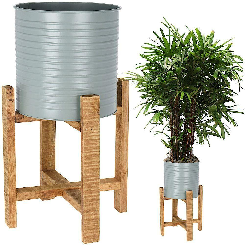 Kwietnik osłonka DONICZKA metalowa na drewnianym stojaku 58 cm na rośliny kwiaty