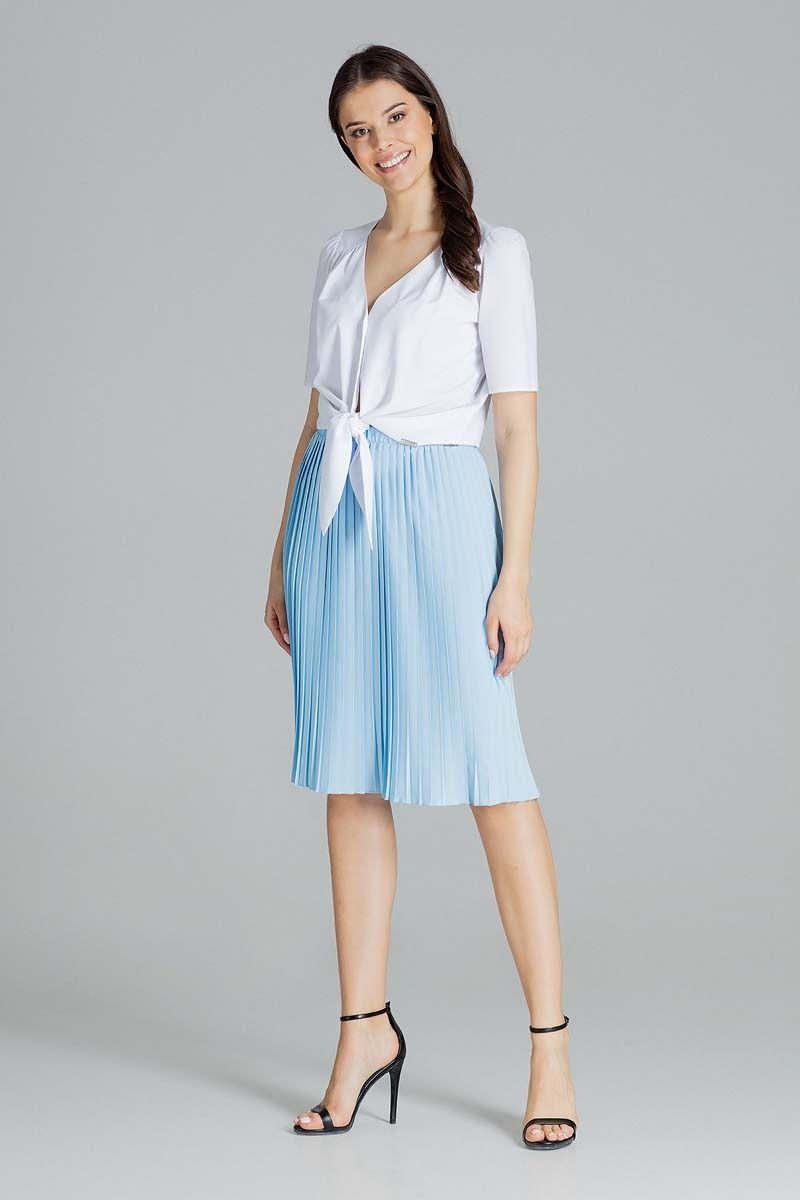 Niebieska plisowana midi spódnica