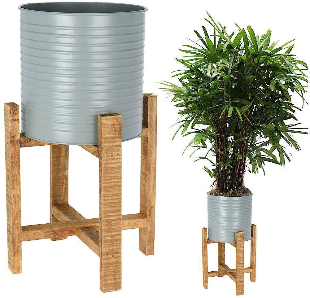Kwietnik osłonka DONICZKA metalowa na drewnianym stojaku 50 cm na rośliny kwiaty