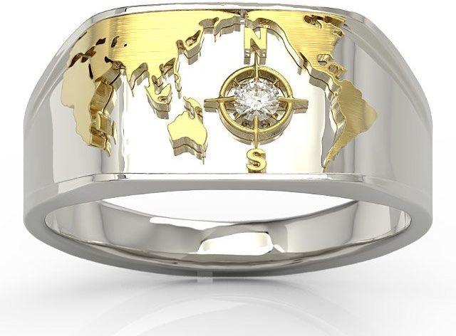 Sygnet morski z białego i żółtego złota z brylantem sj-1406bz