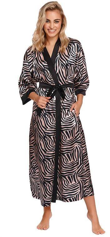Długi szlafrok satynowy Zebra