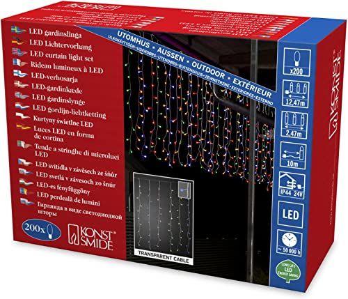 Konstsmide 3674-503 LED lodowy deszcz kurtyna świetlna z kolorowymi globesami / do użytku na zewnątrz (IP44) / transformator zewnętrzny 24 V / 200 kolorowych diod / przezroczysty kabel