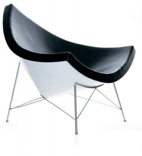 Czarny Fotel Kokos Skóra Naturalna Inspirowany Projektem Coconut Chair