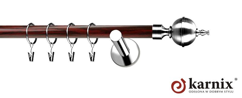 Karnisze Nowoczesne NEO Prestige pojedynczy 19mm Roxy INOX - mahoń