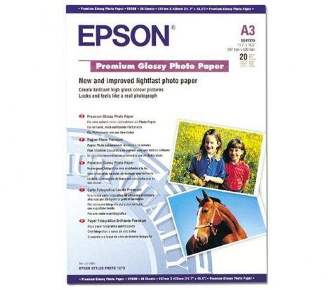 Papier EPSON Premium Glossy Photo 255g - A3, 20 arkuszy (C13S041315)