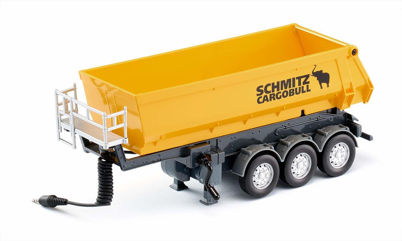 siku 6734, 3-osiowa naczepa wywrotka model zabawkowy, 1:32, metal/tworzywo sztuczne, żółta, zdalnie sterowana, nadaje się do ciężarówek SIKU CONTROL i pojazdów SIKU CONTROL z zaczepem do przyczepy