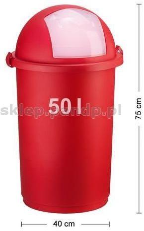 Kosz na śmieci 50L push 5055 czerwony