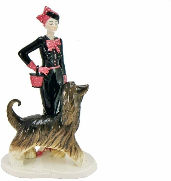 P4Y, figurka porcelanowa KOBIETA z PSEM (Di Kaye Coll.)