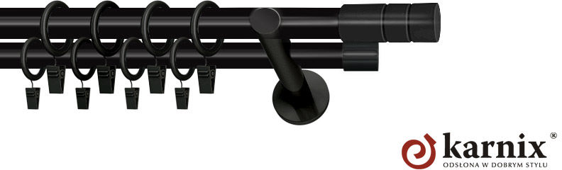 Karnisze nowoczesne NEO podwójny 19/19mm Cylinder czarny