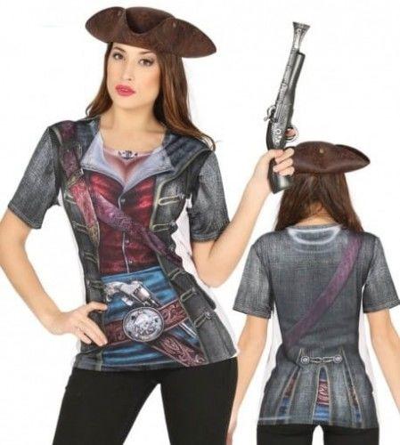 Koszulka z nadrukiem 3D - Piratka SPANDEX, HIGH QUALITY