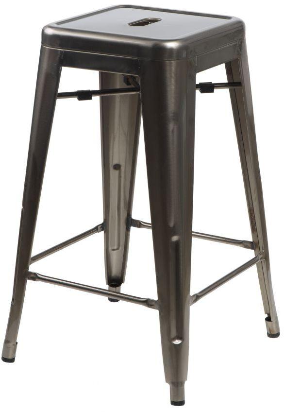 D2 Stołek barowy Paris w kolorze metalu inspirowany Tolix