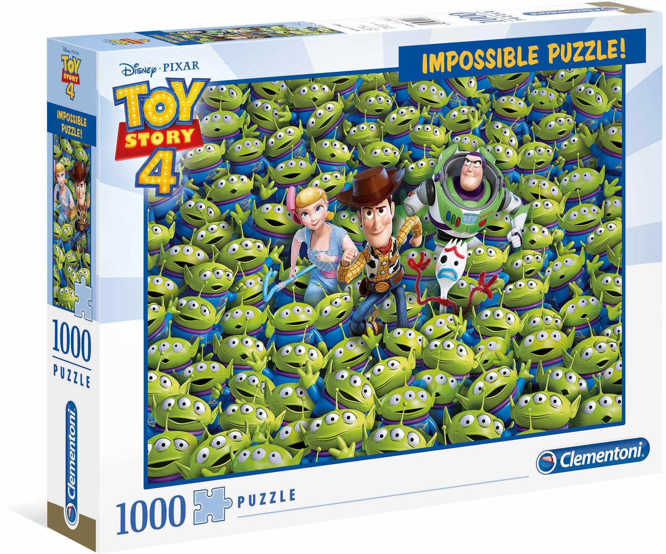 Clementoni 39499 39499-Niemożliwe Disney Toy Story 4-1000 sztuk, puzzle dla dorosłych, wielokolorowe