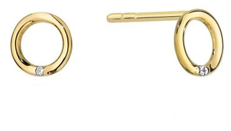 Złote kolczyki 585 ringi z diamentami 14kt
