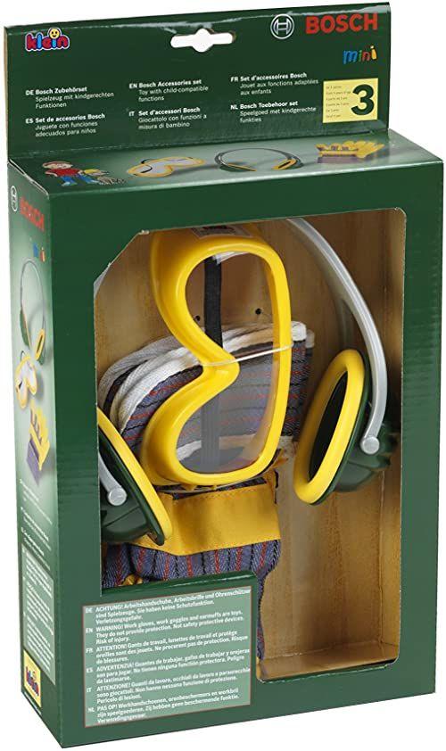 Theo Klein 8535 Zestaw akcesoriów Bosch 3 elementy W zestawie: rękawice robocze, okulary i nauszniki we wzornictwie Bosch Wymiary opakowania: 19,5 cm x 7 cm x 33,5 cm