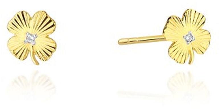 Złote kolczyki 585 koniczynki z diamentami 14kt
