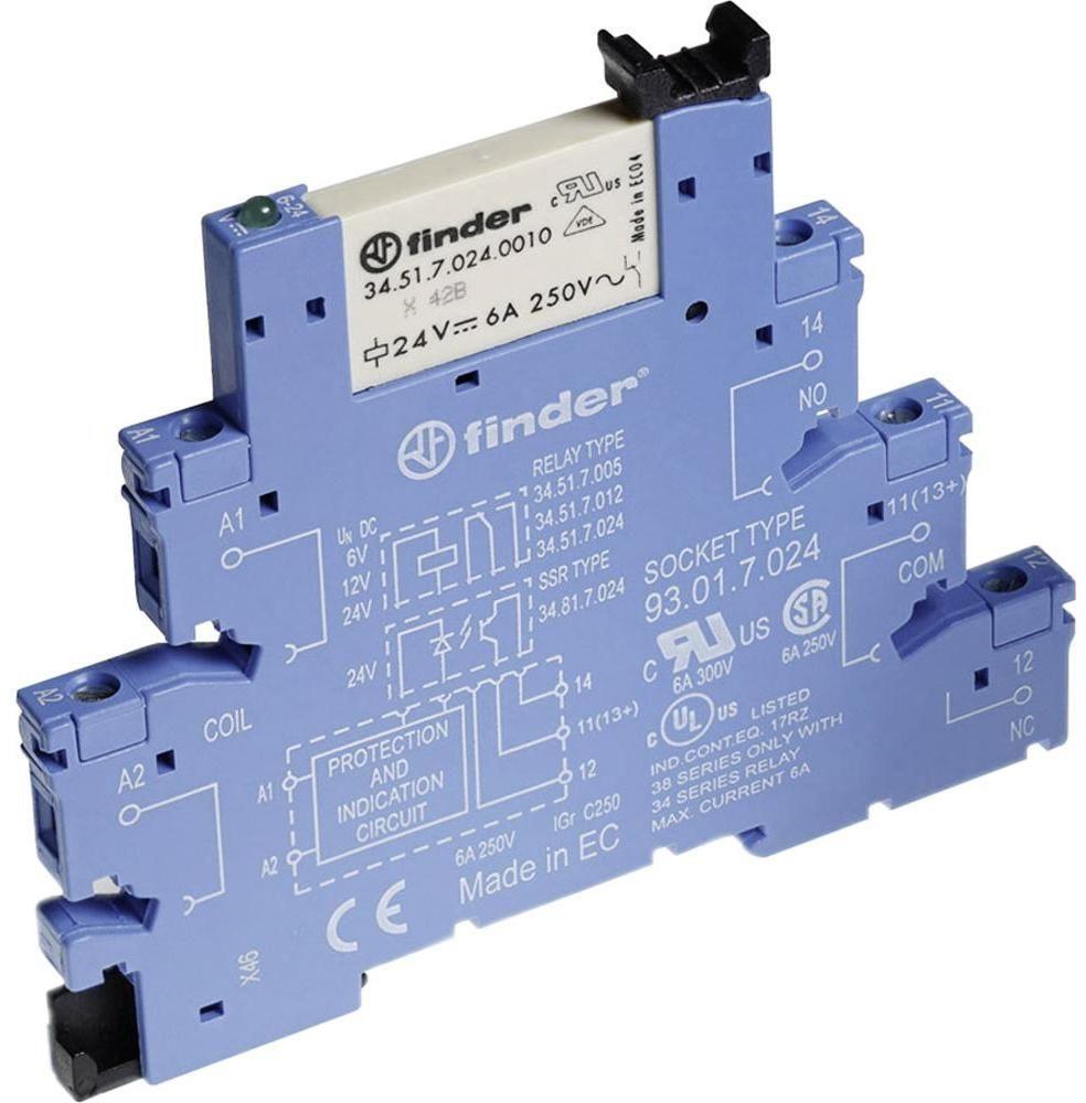 Przekaźnikowy moduł sprzęgający Finder 38.51.0.024.4060 Moduł sprzęgający, przełączny 1CO (SPDT) 6 A AgSnO2 24 V AC/DC Finder 38.51.0.024.4060