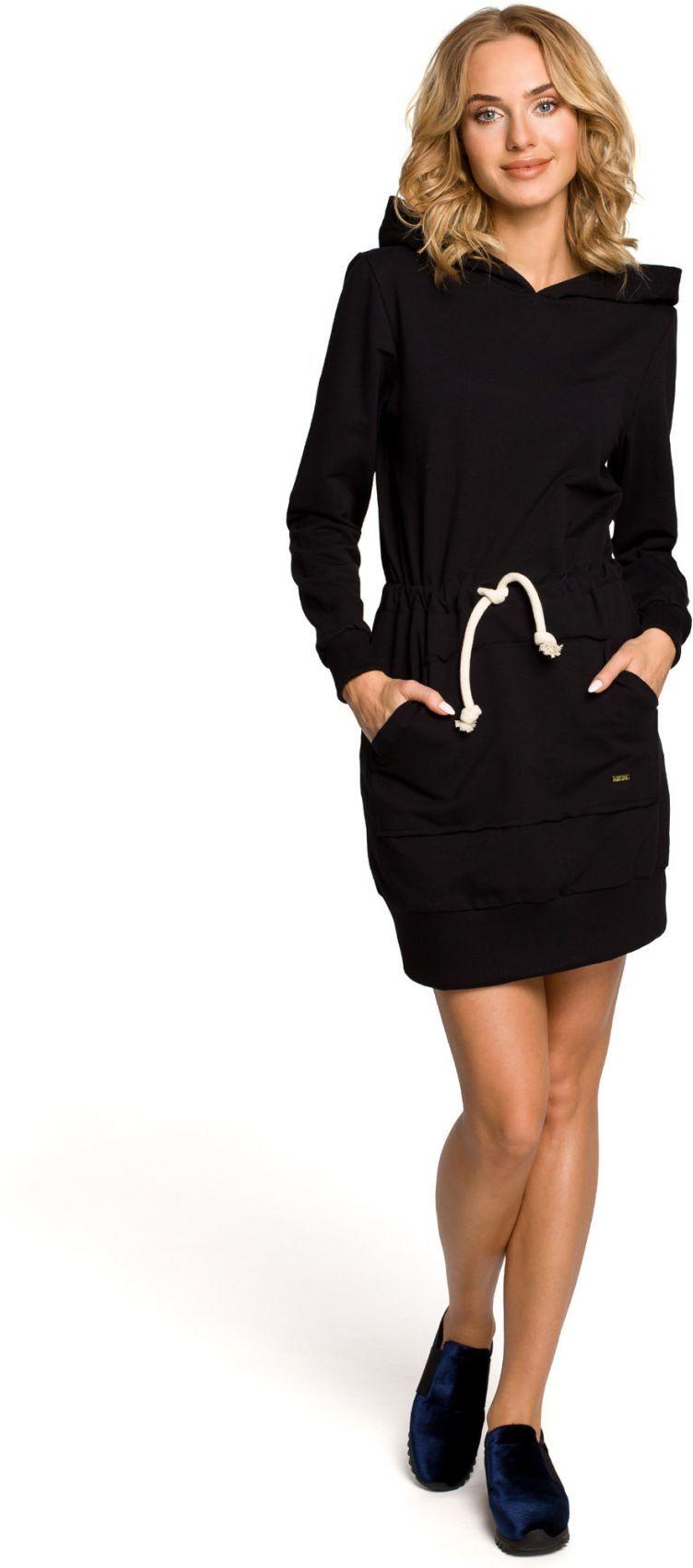 M116 Dresowa sukienka kangurka z kapturem - czarna