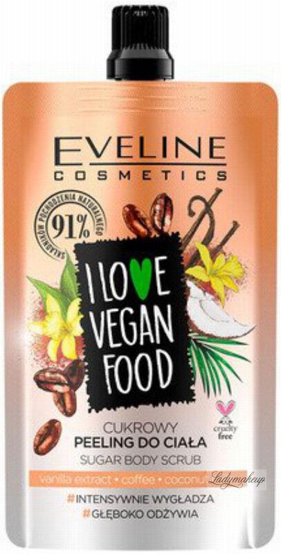 Eveline Cosmetics - I LOVE VEGAN FOOD - VANILLA LATTE SUGAR BODY SCRUB - Cukrowy peeling do ciała - KAWA WANILIOWA - 75 ml