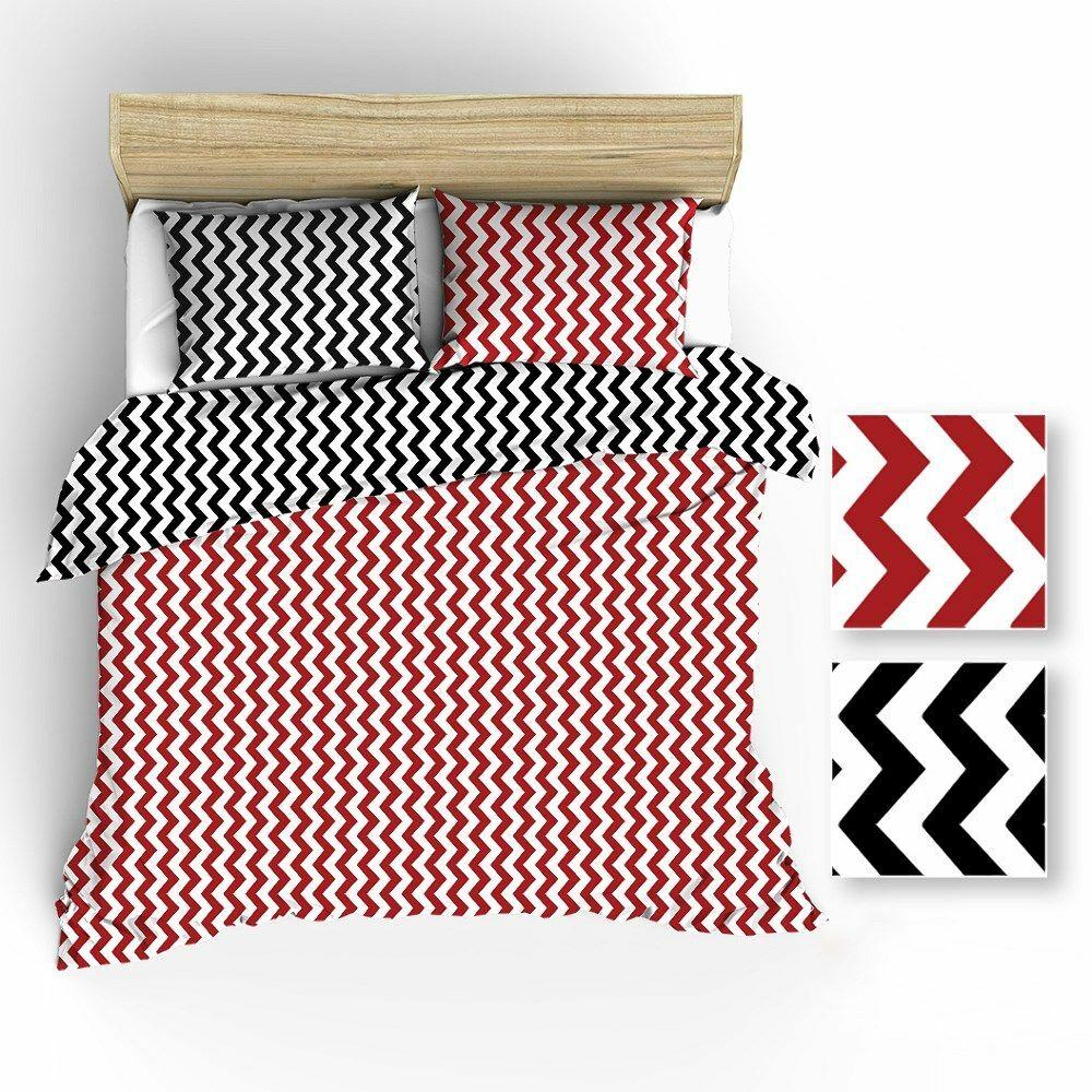 Pościel bawełniana 160x200 R001 biała zygzak czarny czerwony 60N 64N