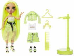 Lalka modowa Rainbow High - Karma Nichols - Lalka w kolorze neonowej zieleni z modnymi strojami, akcesoriami i stojakiem na lalke - Rainbow High Seria 2 - Idealny prezent dla dziewczynek w wieku 6+