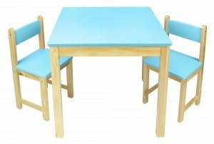 Stolik drewniany w zestawie z dwoma krzesłami Niebieski