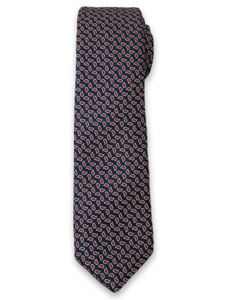 Stylowy Krawat Męski w Drobny, Czerwony Wzór Paisley - Alties- Granatowy KRALTS0107