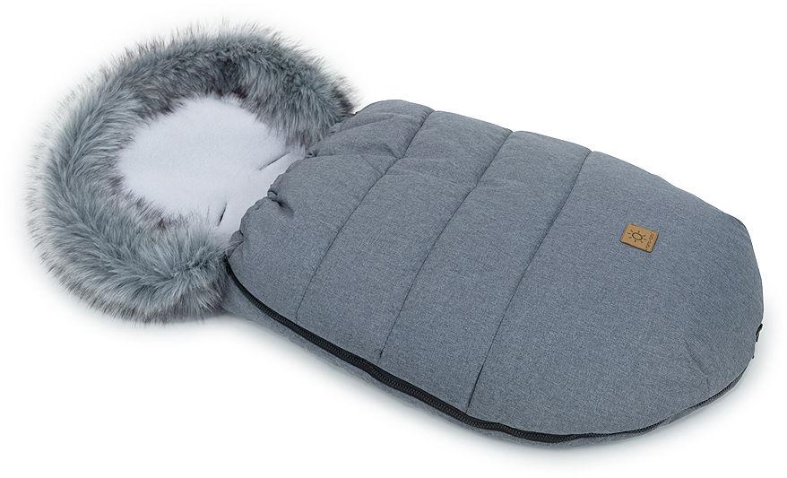 MAMO-TATO Zimowy śpiwór do wózka z bawełną - Grafit / szary