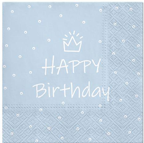 Serwetki dekoracyjne Happy Birthday niebieskie 33cm 20 sztuk SDL300305