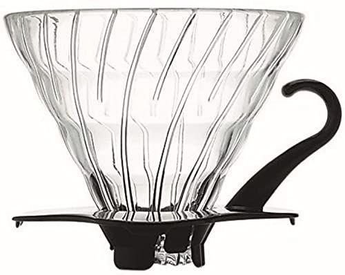 Hario VDG-02B 1-częściowy szklany ociekacz do kawy, czarny