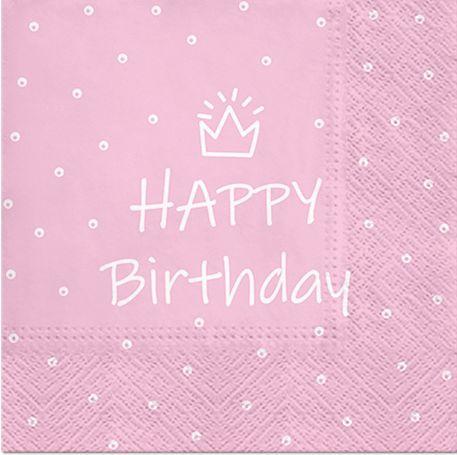 Serwetki dekoracyjne Happy Birthday różowe 33cm 20 sztuk SDL300304