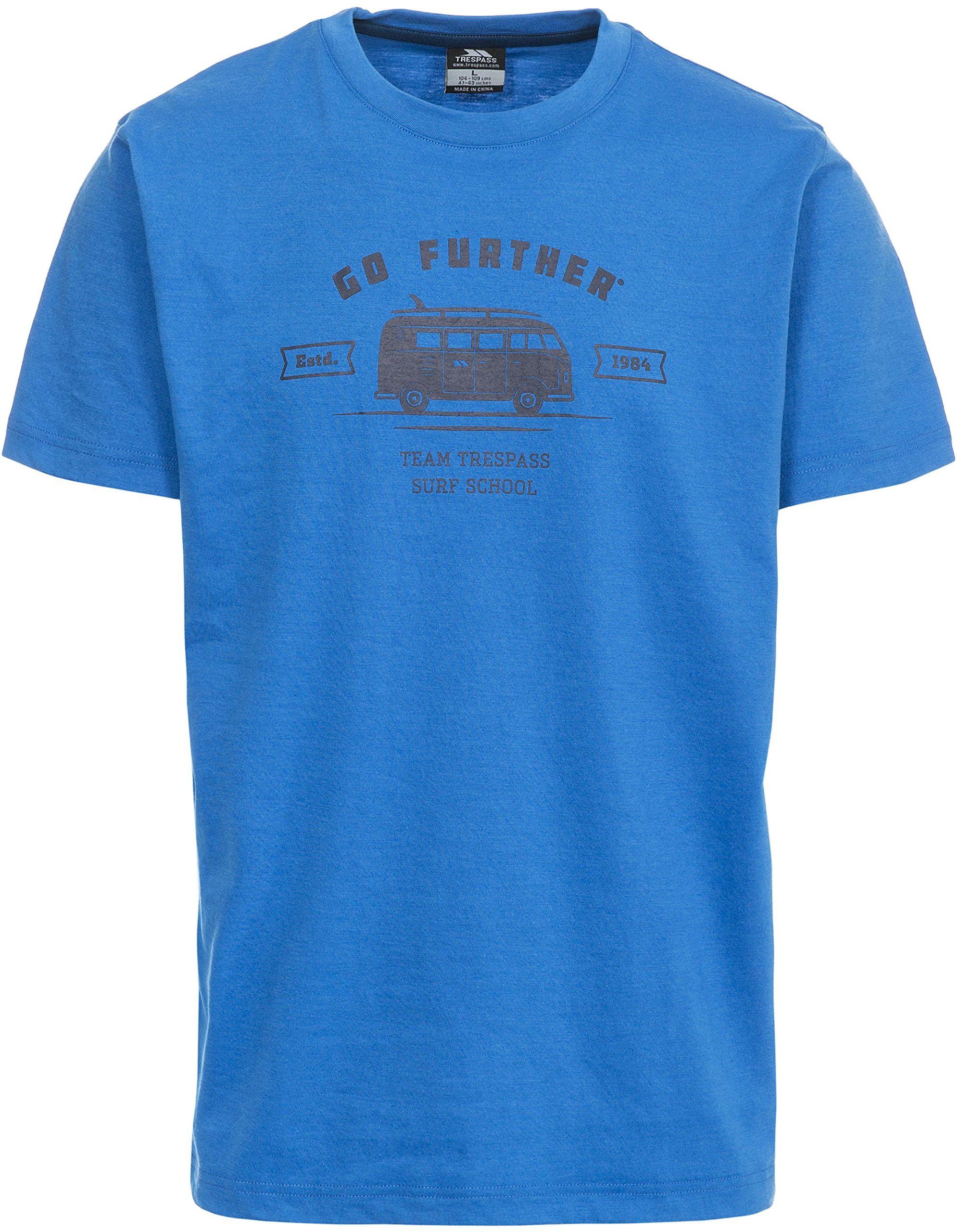 Trespass męska koszulka z krótkim rękawem z nadrukiem na klatce piersiowej Jasnoniebieski XS