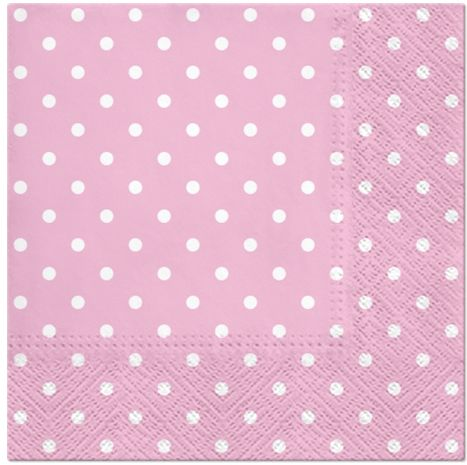 Różowe serwetki w białe kropki 33cm 20 sztuk SDL066013