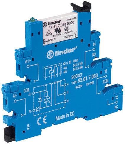 Przekaźnikowy moduł sprzęgający Finder 38.51.7.006.4050 Moduł sprzęgający, przełączny 1CO (SPDT) 6 A AgSnO2 6 V DC wykonanie czułe, tylko dla (6, 12, 24, 48, 60V) Finder 38.51.7.006.4050