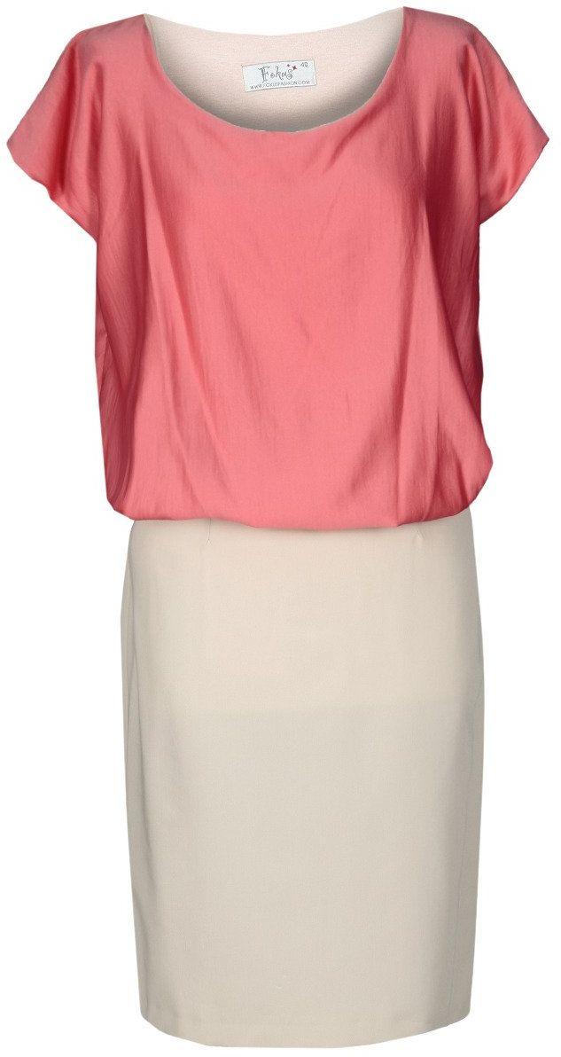 Sukienka FSU369 BEŻOWY KORALOWY