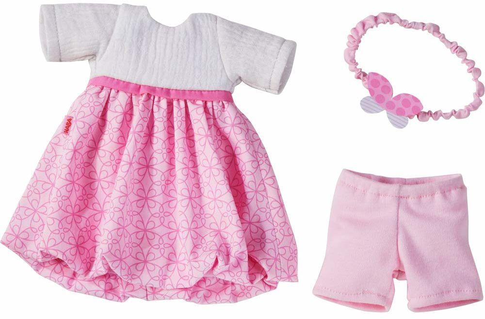 HABA 30555 - zestaw odzieży wymarzona sukienka, zestaw składający się z sukienki, opaski na włosy i spodni, akcesoria dla lalek wszystkich wielkości 32 cm, zabawka dla dzieci od 18 miesięcy