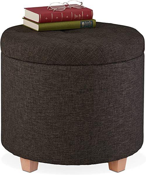 Relaxdays Taboret do siedzenia z miejscem do przechowywania, tapicerowany taboret okrągły, do salonu, wygląd lnu, wys. x śr.: 41 x 44 cm, brązowy