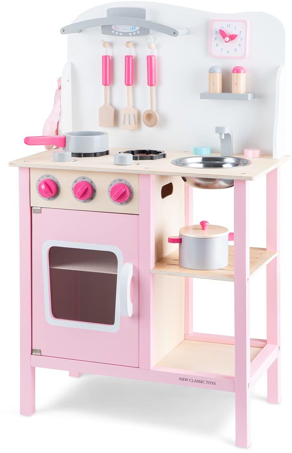 New Classic Toys  11054  zabawy na kółkach dla dzieci  drewniana kuchnia dla dzieci Bon Appétit  róża  wraz z akcesoriami