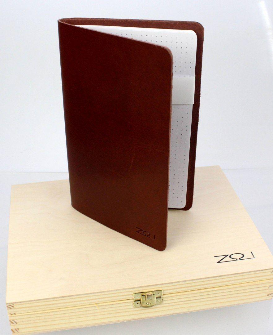 Notatnik W Skórzanej Oprawie RED + Pudełko Drewniane Wymienne Wkłady Skóra Licowa Vintage Solidny Notes