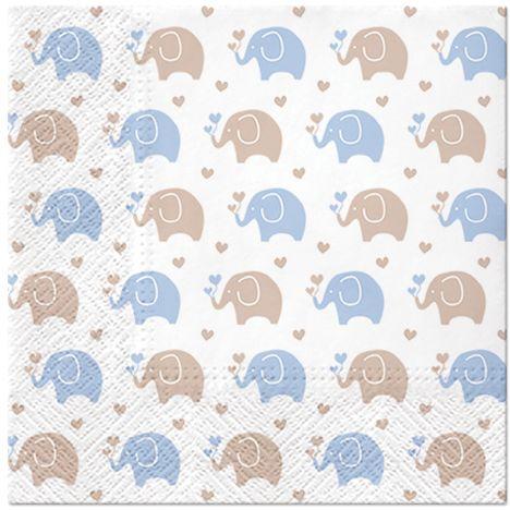 Serwetki dekoracyjne niebieskie Słoniki 20 sztuk SDL125605