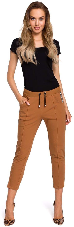 Kamelowe dresowe spodnie 7/8 z lampasem