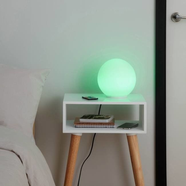 Lampa stołowa LED GoodHome Baoule E27 RGB biała