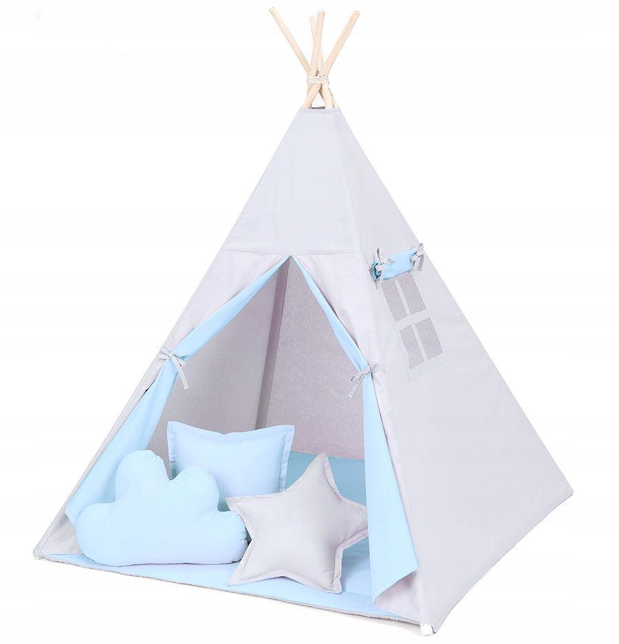 MAMO-TATO Namiot TIPI DUŻY z matą i poduszkami Popiel / błękit