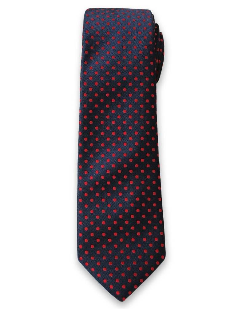 Oryginalny Krawat Męski w Czerwone Groszki, Kropki - 6cm- Alties, Granatowy KRALTS0106