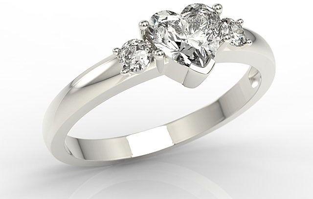 Pierścionek z białego złota z białym topazem w kształcie serca i cyrkoniami jp-90b-c