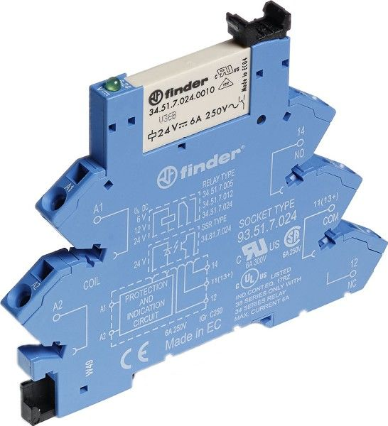 Przekaźnikowy moduł sprzęgający Finder 38.61.0.240.4060 Moduł sprzęgający, przełączny 1CO (SPDT) 6 A AgSnO2 220 240 V AC/DC Finder 38.61.0.240.4060