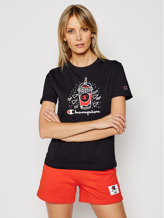 Champion T-Shirt Basketball Logo Digital Print 112965 Czarny Custom Fit