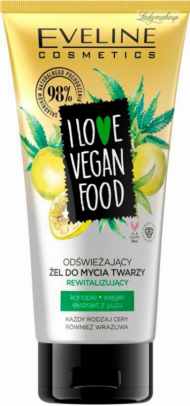 Eveline Cosmetics - I LOVE VEGAN FOOD - Odświeżający żel do mycia twarzy - Rewitalizujący - 150 ml