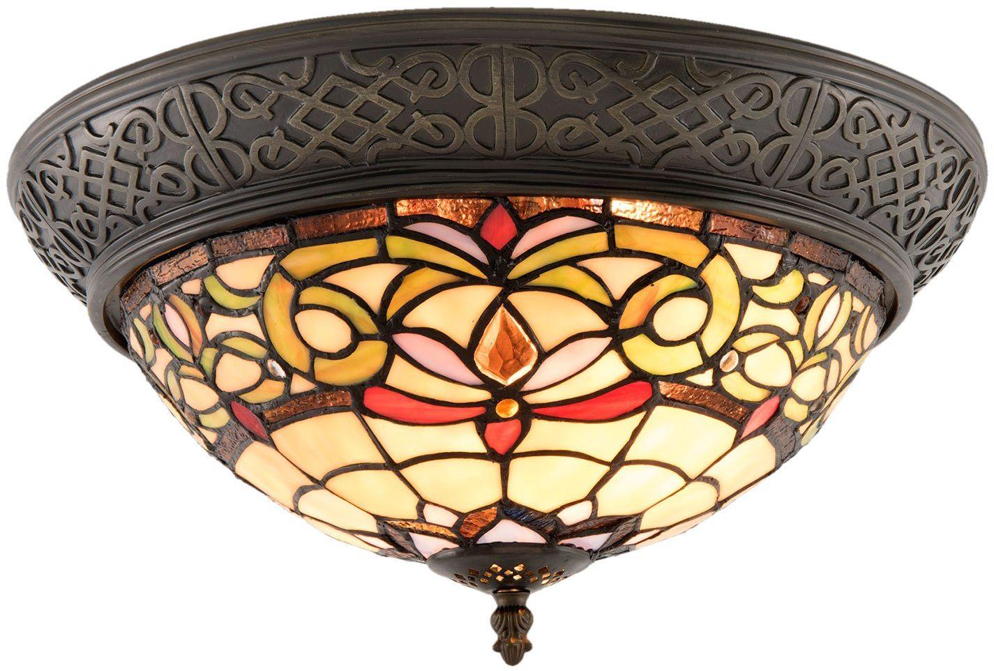 Lumilamp 5LL-5909 lampa sufitowa Tiffany Ø 38*20 cm / E14 / maks. 2x40 W dekoracyjny kolorowy styl Tiffany