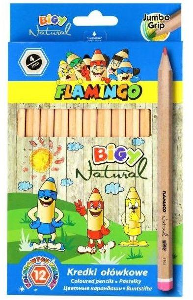 Kredki ołówkowe grube Jumbo 12 kolorów Natural Flamingo 340943 340943